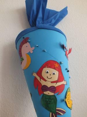 Bastelanleitung für eine Meerjungfrau-Schultüte
