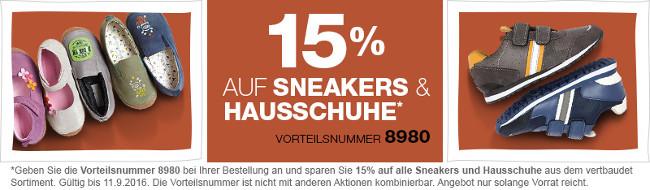 Aktionsbanner: 15% auf Sneakers und Hausschuhe von vertbaudet