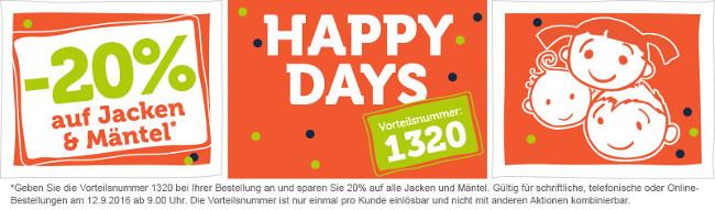 Happy Days-Banner mit 20%-Aktion auf Jacken und Mäntel