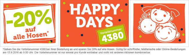 Happy Days-Banner: 20% Rabatt auf Hosen von vertbaudet