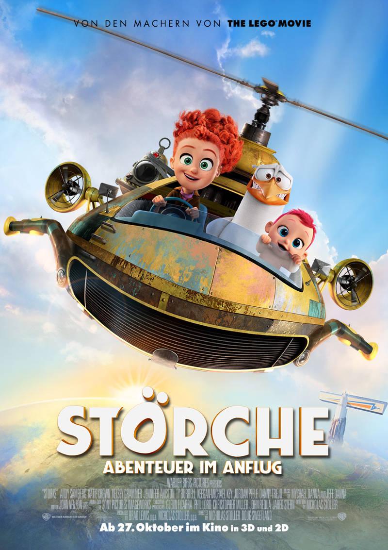 Filmplakat mit junger Frau, Storch und Baby in selbstgebautem Hubschrauber