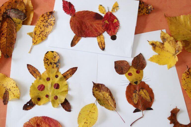 Diy Tiere Aus Herbstblattern Basteln Vertbaudet Blog Ein
